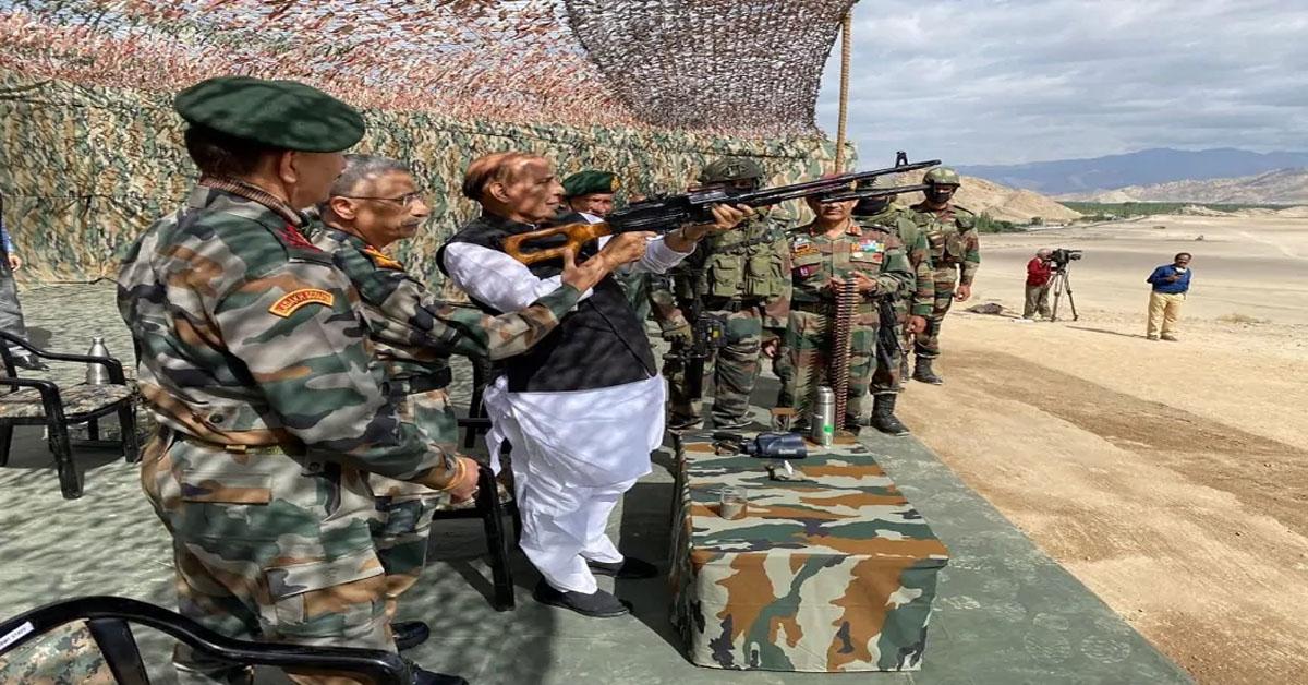 Defence Minister Rajnath Singh arrives in Leh