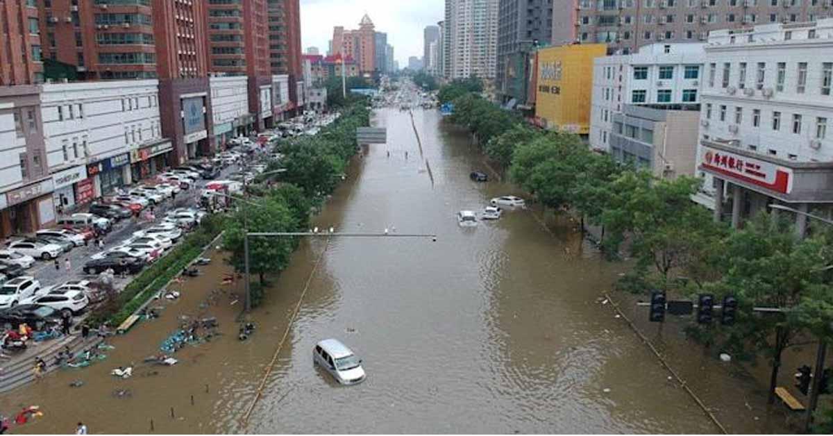 China flood terror as train carriage submerged