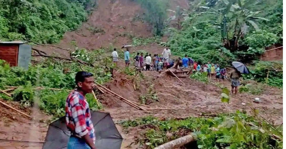 In Assam 19 killed in landslides